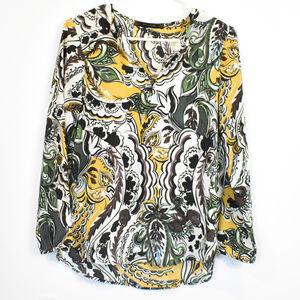 Zara Basic V Neck Floral Pattern Blouse size S